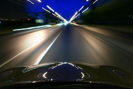 highway lights: speed drive on car at night motion blurred Stock Photo