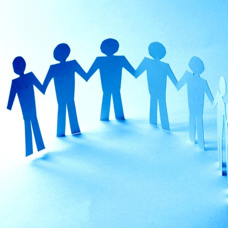 paper team linked together partnership concept Stock Photo - 3798778