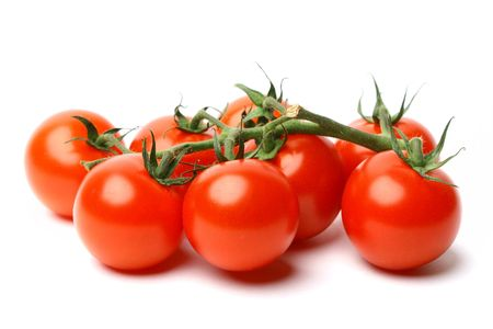白い背景で隔離のチェリー トマト 写真素材