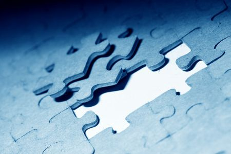 managed: puzzle combined objects macro close up  Stock Photo