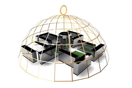 jailbird: office in golden cage not freedom concept