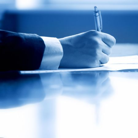 pen work hand work background Stock Photo