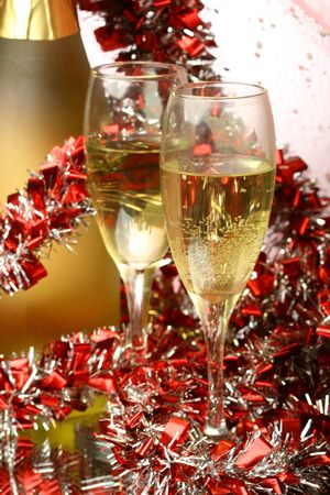 New Year s card with champagne decoration photo