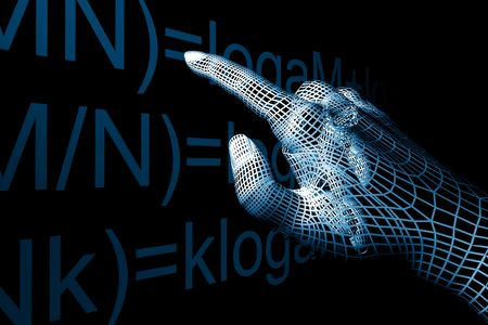 cyber hand mathemathics 3d abstract Stock Photo - 3822663