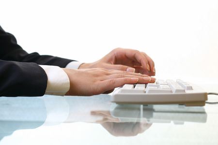 hands work on keyboard white background Stock Photo - 3848747
