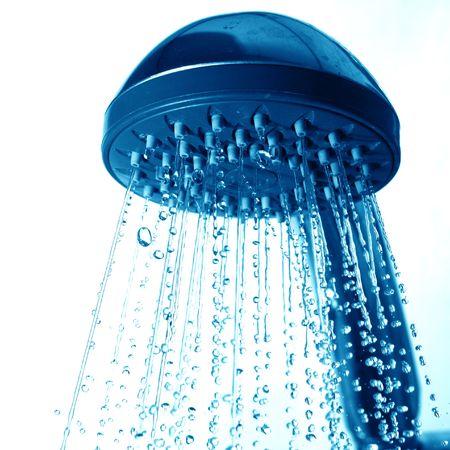 water jet: fresh shower clean blue water jet Stock Photo