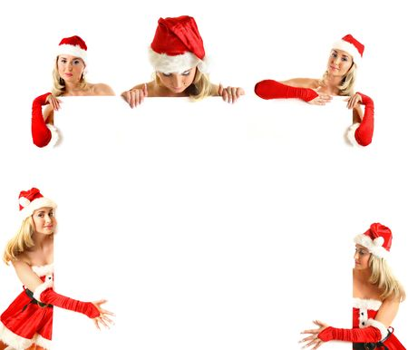 big collect of santa girl hold christmas banner in hands Stock Photo