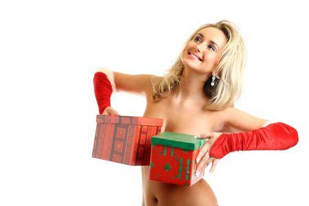 sexy santa girl hide behind gift box Stock Photo - 3897972