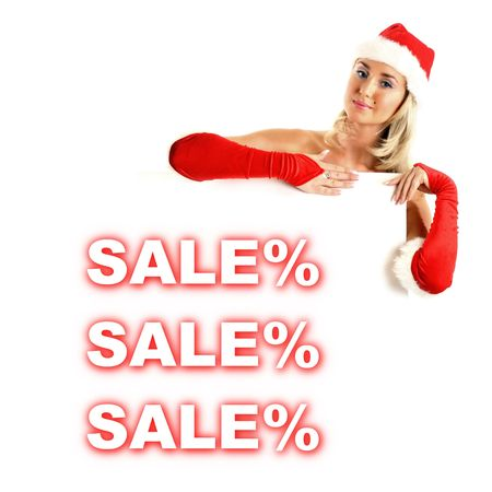 santa girl take in hands banner with sale sign Stock Photo - 3897975