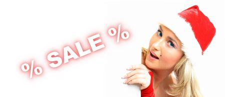 santa girl take in hands banner with sale sign  Stock Photo - 3897976