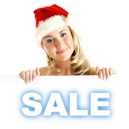 santa girl take in hands banner with sale sign Stock Photo - 3897973