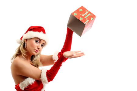 pin-up santa girl have no gift empty box Stock Photo - 3897970