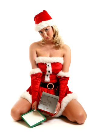 pin-up santa girl have no gift empty box Stock Photo - 3897971