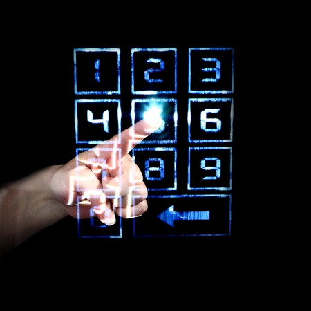 enter secret code on numpad security control photo