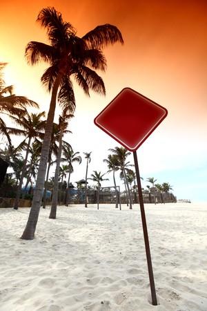 desert sign in sand under palm Stock Photo - 4212452