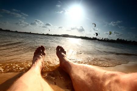 lazy vacation lay near ocean photo