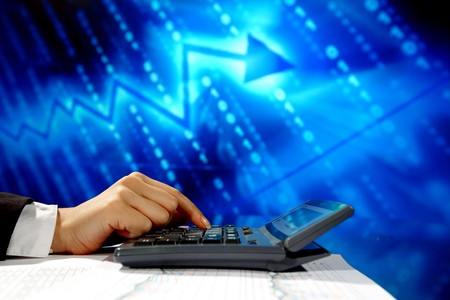 electronic balance: businessman data info technology concept