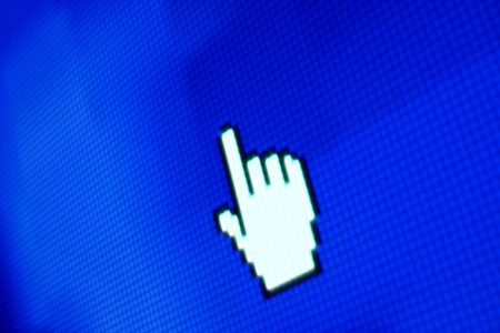 touchpad: finger corsor on blue pixel screen
