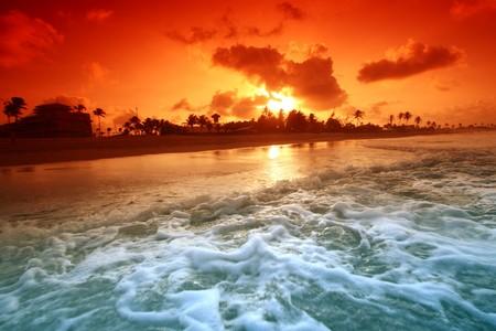 landscape ocean sunrice golden sky Stock Photo - 4279419