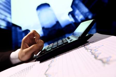 reseller work calculate price skyscrapers onbackground Stock Photo - 4304734