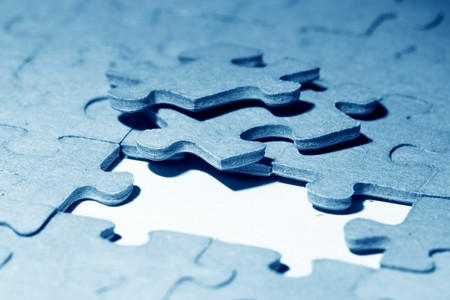 puzzle combined objects macro close up  Stock Photo - 4324463