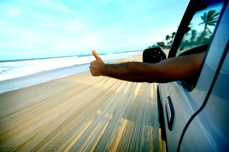 desert road: beach drive on allroad car Stock Photo