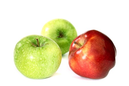 red and green apples macro close up photo
