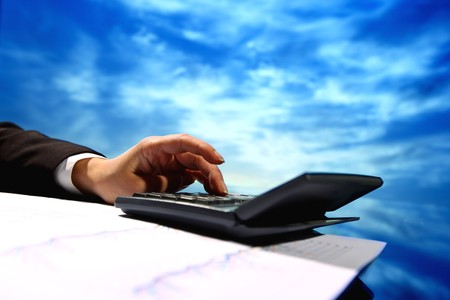 god  hand calculate in his office om sky Stock Photo - 4363477