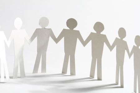 paper team linked together partnership concept Stock Photo - 4616131