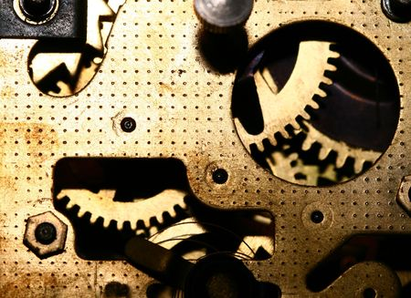 rackwheel: time gear inside my rare clock Stock Photo