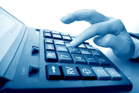 electronic balance: girl hand calculate on white background Stock Photo