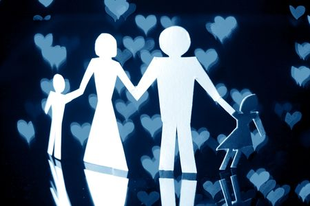 paper family in world of love photo