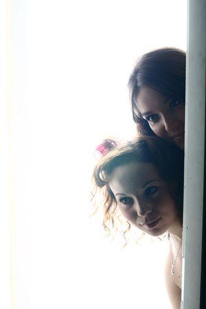 stay beautiful: beautiful girl stay in light door