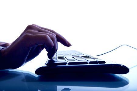 hand press a key on keyboard Stock Photo - 4977168