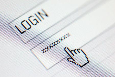 contrase�a: contrase�a de acceso en la macro pantalla LCD de Foto de archivo