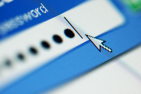 login  password on lcd screen macro photo