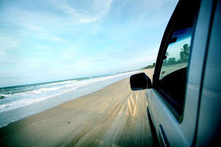 beach drive on allroad car photo