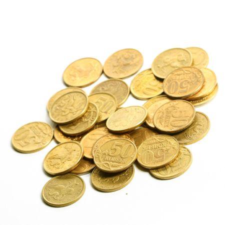 monedas antiguas: pilas de monedas aisladas sobre fondo blanco Foto de archivo