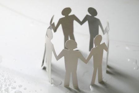 paper team linked together partnership concept Stock Photo - 4977674