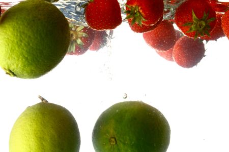 lime splash isolated on white background photo