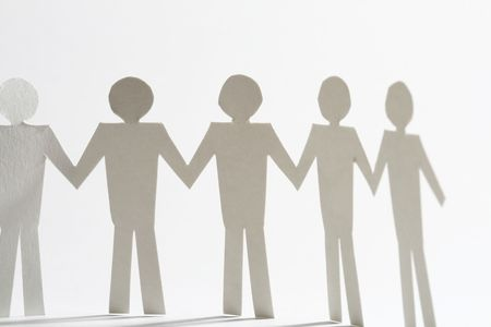 paper team linked together partnership concept Stock Photo - 4995174