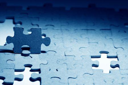 combined: macro de objetos combinados de rompecabezas close up