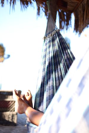 girl on vacation relax in hammock photo