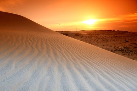 merzouga: desert sand under blue sunny sky Stock Photo