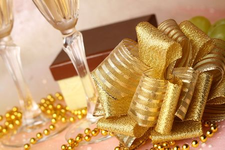 holiday card golden champagne and gift Stock Photo - 5020189