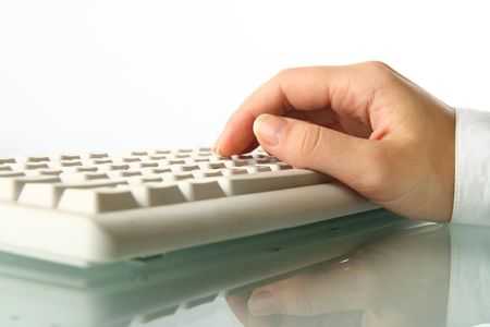 girl hands typing on keyboard macro close up Stock Photo - 5019532