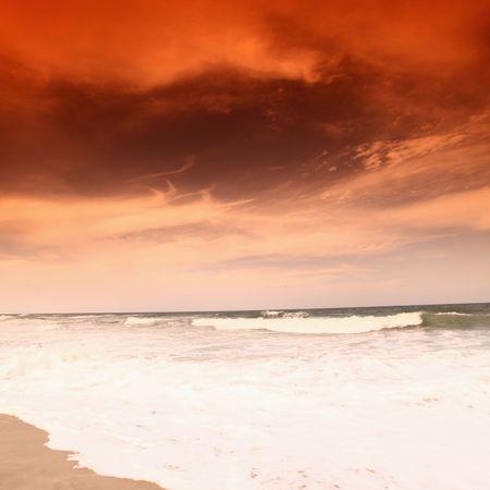 landscape ocean sunrice golden sky Stock Photo - 5020396