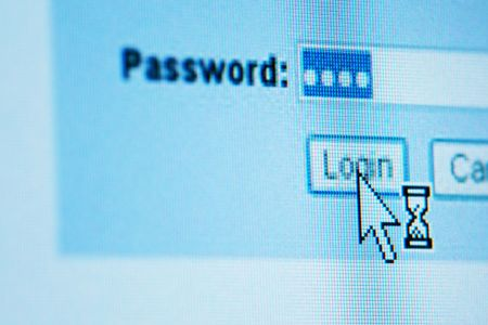login  password on lcd screen macro Stock Photo - 5019578