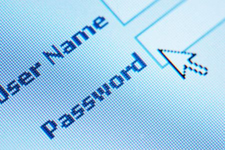 login  password on lcd screen macro photo