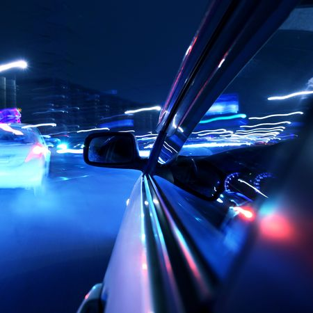 car fast drive on highway in night Stock Photo - 5019622